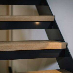 Steel Staircase Wood Treads Glass Panel